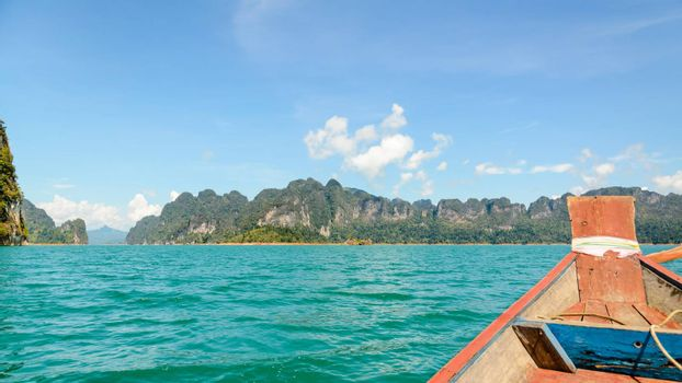 Travel by small boats at Ratchapapha dam in Khao Sok National Park Surat Thani province, Guilin of Thailand.