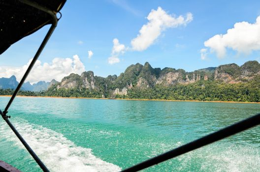 Travel by small boats at Ratchapapha dam area in Khao Sok National Park, Surat Thani province, Guilin of Thailand.