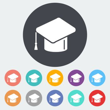 Education. Single flat icon on the circle. Vector illustration.