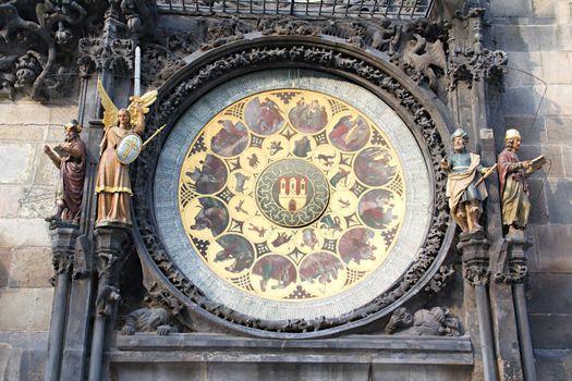 Photo captures details of Old Town Square Clocks in Prague, Czech republic.