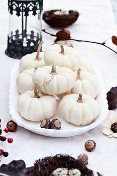 White Autumn Table Setting