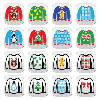 Ugly Christmas sweater on jumper buttons set