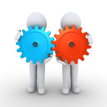Two 3d people are holding connected cogwheels