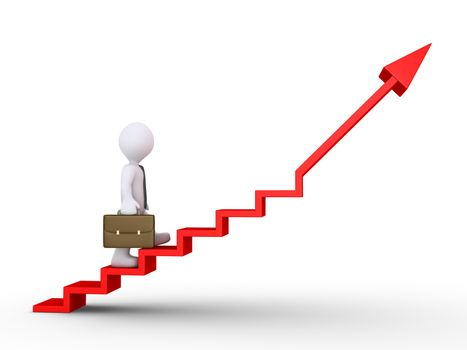 3d businessman is climbing a graphic chart with stairs