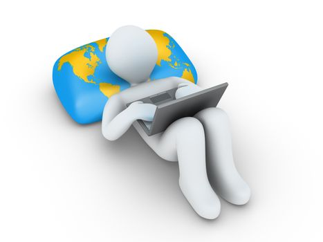 3d person using a laptop is lying on a pillow with the world map
