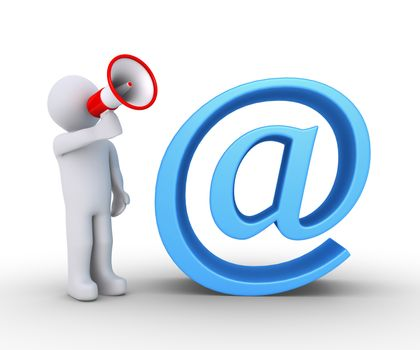 3d person shouting through a megaphone is next to an e-mail symbol