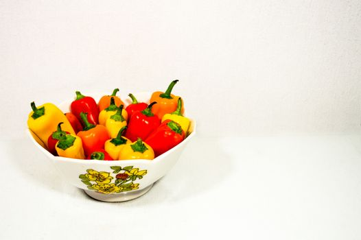 Colorful Peppers in a Bowl