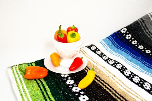 eppers in a Milk Glass Dish with Mexican Blanket