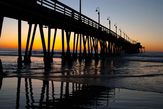 Pier at Dusk with Reflections