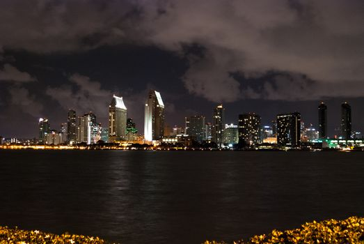 San Diego Cityscape with Storm Clouds at Night