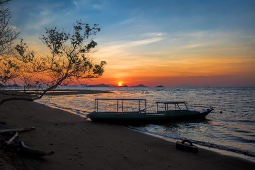 Sunset on Flores island in Komodo natrional park