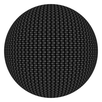 Highly detailed illustration of a carbon fiber textured circular shape or button background isolated over white.