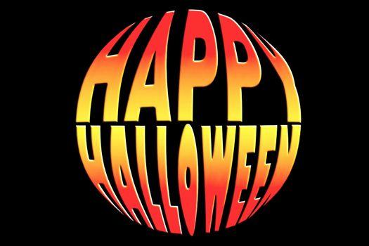 Happy Halloween title in a pumpkin shape