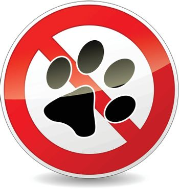 Vector illustration of no pets red and white sign