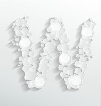 Creative design of embossed bubble W alphabet