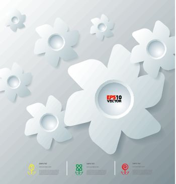 Stylized infographic template with flower bubbles for creative data communication