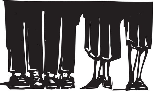 Woodcut style expressionist image of the legs of men and woman standing around.