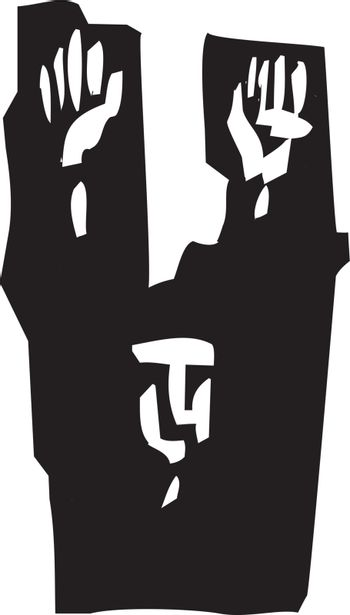 Woodcut style expressionist image of a man raising his hands in surrender.