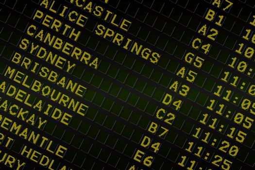 Black airport departures board for australia
