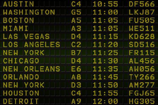 Black airport departures board for america