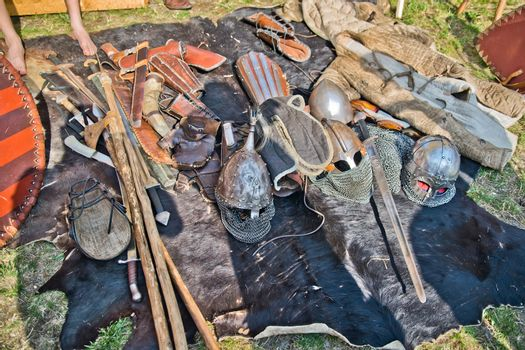 Set of historical slavic weapons and armors