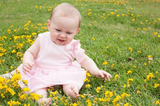 Sweet baby girl in a field of buttercups