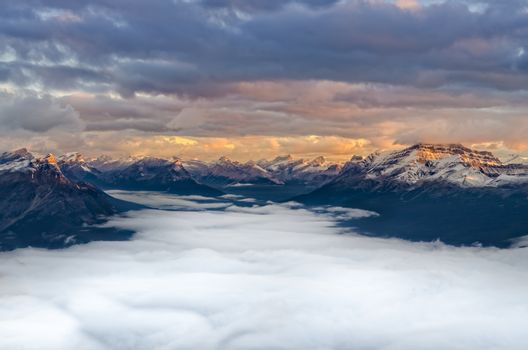 Landscape view of mountain range at sunrise, Mount Fairview, Alberta, Canada