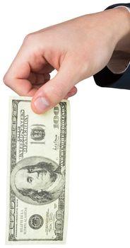 Hand holding hundred dollar bill