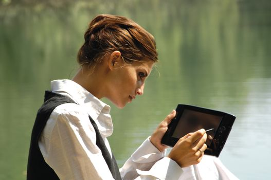 beautiful slender girl with laptop