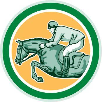 Equestrian Show Jumping Side Circle Retro