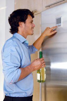 Man near fridge