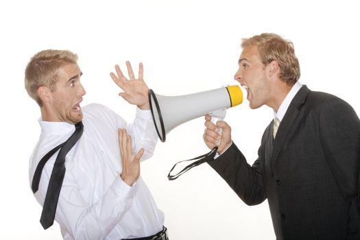 boss yelling into megaphone