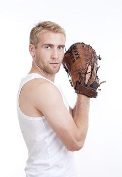 man with baseball glove