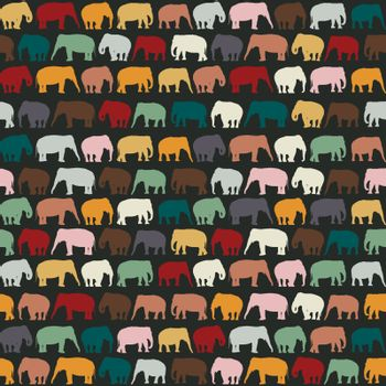 Elephants texture, seamless pattern for textile, website background, book cover, packaging.