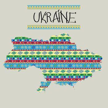 Decorative map of Ukraine in colors