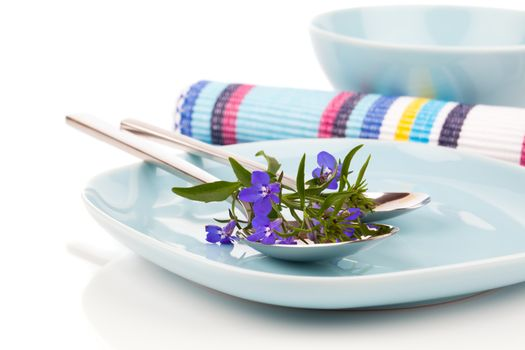 tableware with blue lobelia flowers and cutlery, on a white back