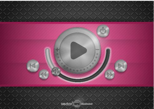 Abstract Technology App Icon With Music Button. Vector Illustration. Eps 10