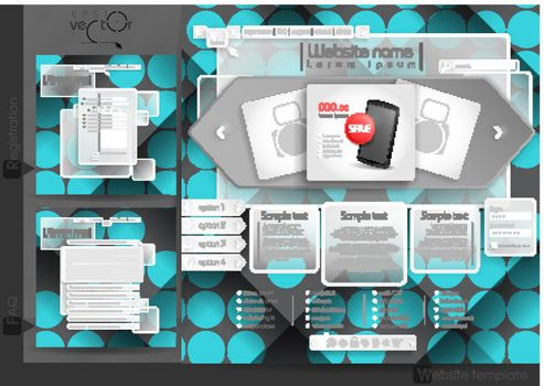 Website Design Template Menu Elements With FAQ And Registration. Vector Illustration. Eps 10.