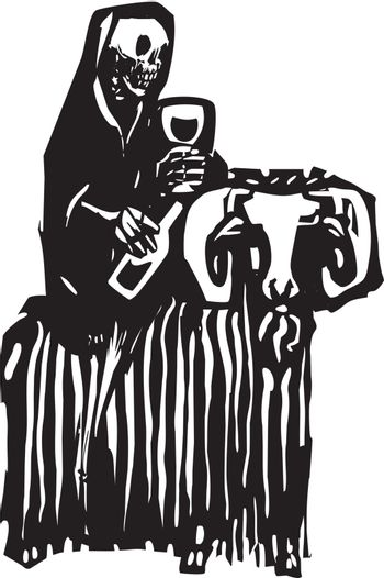 Woodcut style expressionist image of death drinking wine and riding on a goat.