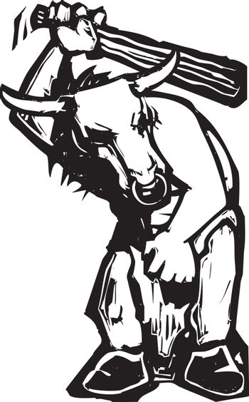 Woodcut style expressionist image of a Greek minotaur with a club