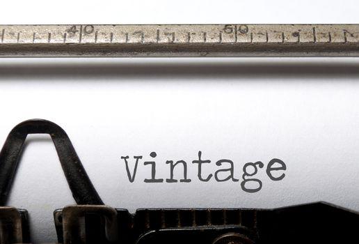 Vintage printed on an old typewriter