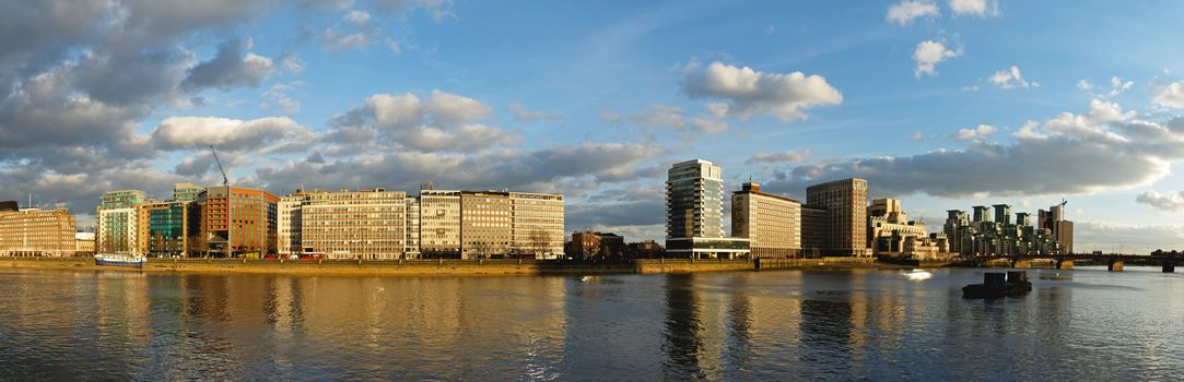 Panoramic cityscape of Vauxhall in south London