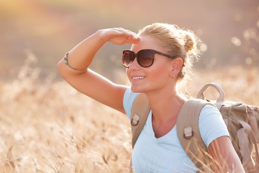 Happy traveler girl