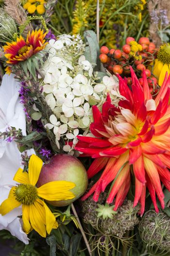 beautiful bouquets of flowers and herbs