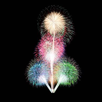 colorful fireworks on black background.