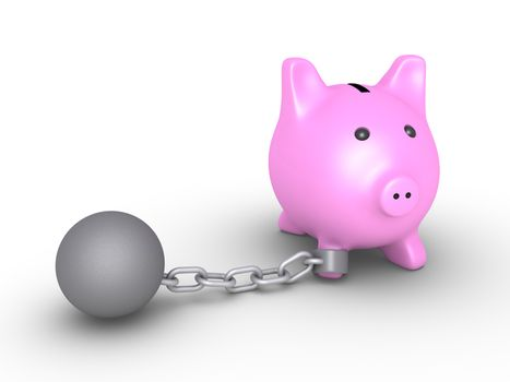 3d pig money box is detained by a chain ball