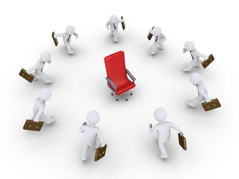 3d businessmen are running towards an empty chair