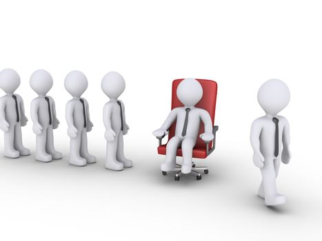 3d businessmen are waiting in line to sit on a special chair