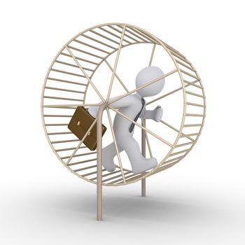 3d businessman is running inside a hamster wheel