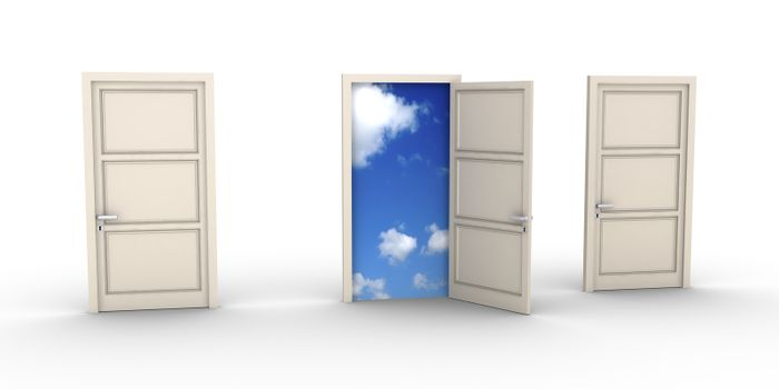 Three doors but one is opened and the blue sky appears
